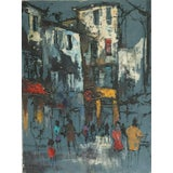 Image of Mid Century Abstract Painting of Paris Street Scene For Sale