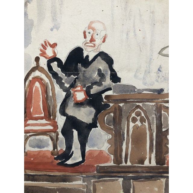 Gothic Preacher With a Gothic Chair, Watercolor by Alf Evers, 1930s For Sale - Image 3 of 4