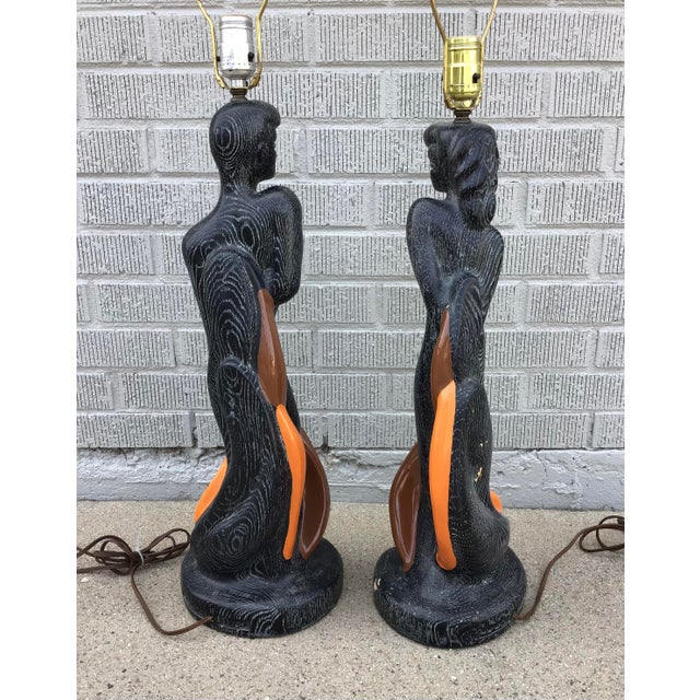 Reglor of California Chinoiserie 1951 Chalkware Lamps - a Pair For Sale - Image 4 of 11