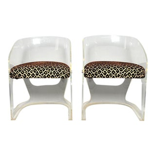 Vladimir Kagan Lotus Lucite Chairs Faux Leopard Fabric - A Pair