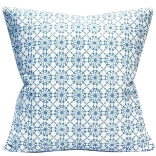 Candida Porcelain Light Blue and White Print Pillow Cover For Sale