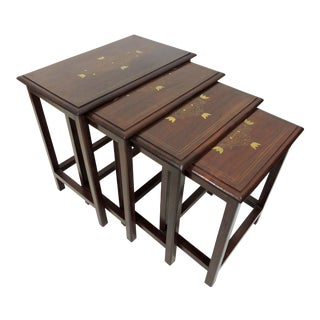 Late 20th Century Vintage Rosewood & Brass Inlay Nesting Tables - Set of 4 For Sale