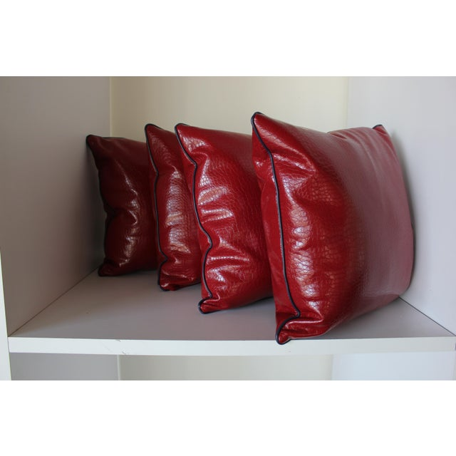 Robert Allen Robert Allen Duralee Group Red Faux Alligator Leather Pillows With Contrast Welting - Set of 4 For Sale - Image 4 of 4