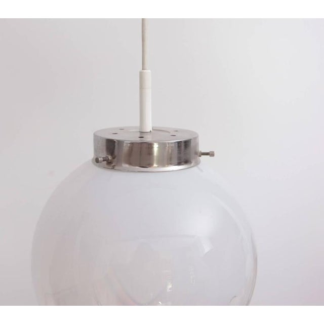 Modern Pendant with Globes of Frosted-to-Clear Glass with Orange Inclusions, Italy 1970 For Sale - Image 3 of 5