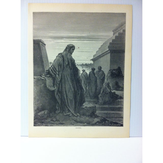 """This is Real Nice Antique Print on Paper Illustrated by Gustave Dore' that is titled """"Daniel"""". The Print was Printed by..."""