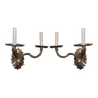 1920s Silver Plated Double Light Sconces - a Pair For Sale