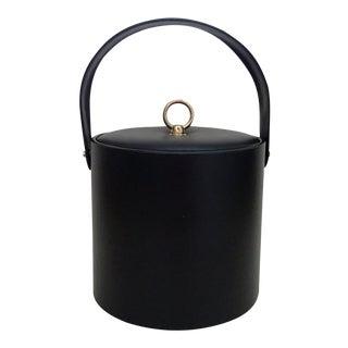 Textured Black Vinyl Vintage George Briard Ice Bucket For Sale
