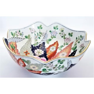 Large Chinese Porcelain Tobacco Leaf Bowl With Gold Trim - Feng Shui - Asian Palm Beach Boho Chic Flowers Peony Tropical Coastal Preview