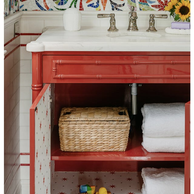 Featured in The 2020 San Francisco Decorator Showcase — C.E.H. Custom Red Lacquered Bamboo Vanity For Sale In San Francisco - Image 6 of 6