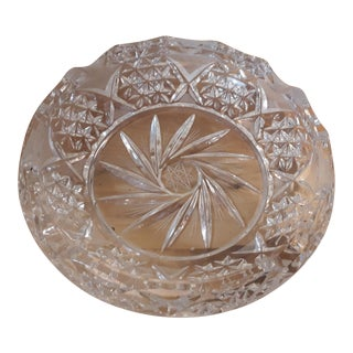 Vintage Hand Cut Lead Crystal Ashtray For Sale
