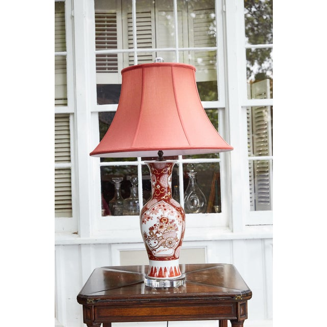 Vintage Japanese Imari Lamp in Red and Gold For Sale - Image 11 of 11