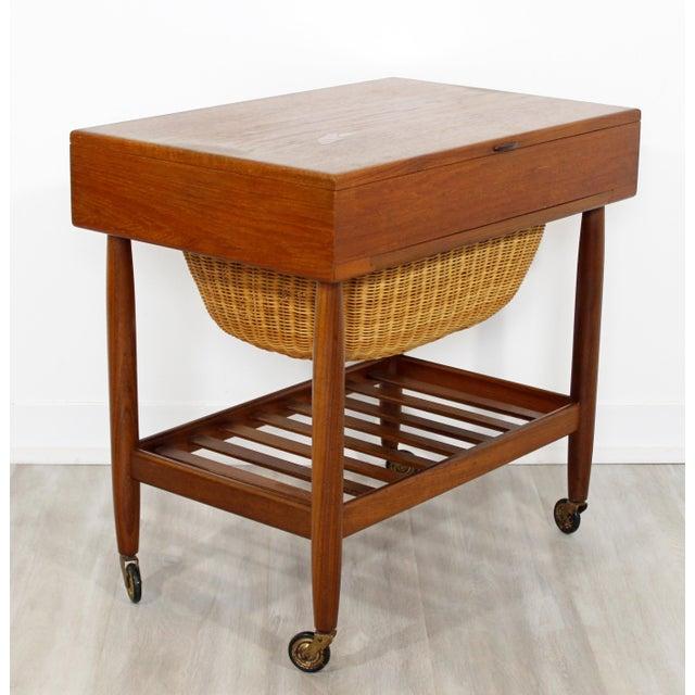 5438a579b 1950s Vintage Ejvind Johansson Danish Mid Century Modern Teak Sewing  Cabinet Side End Table For Sale