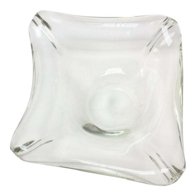 Mid-Century Modern Blown-Glass Ashtray / Decorative Dish in Pale Green For Sale