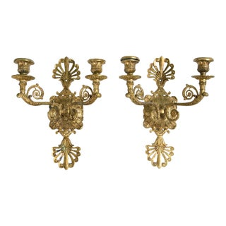 1920s French Empire Gilt Bronze Sconces - a Pair For Sale