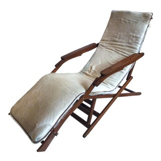 Handmade Folding Lounge Chair With Cowhide Cover For Sale