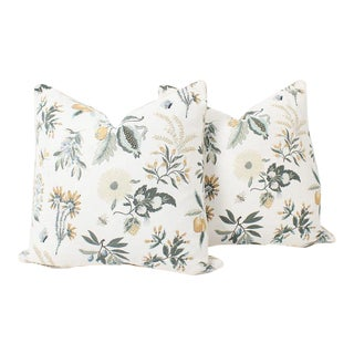Floral Linen Printemps Pillows, a Pair For Sale