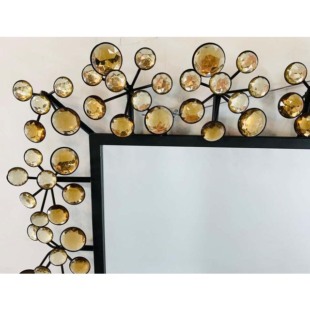Mid-Century Modern Black and Faux Crystal Accent Beveled Wall Mirror For Sale In New York - Image 6 of 13