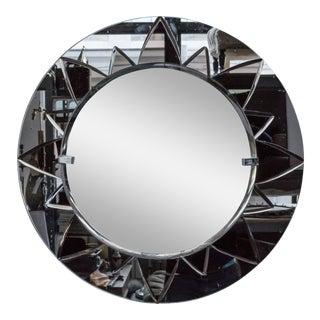 Unusual Round Mirror With Rose Mirror Sunburst Design For Sale