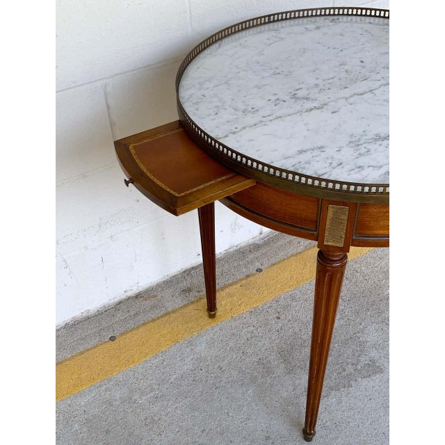 Louis XVI Style Carrera Marble-Top Bouillotte Table, Stamped Made in France For Sale In Atlanta - Image 6 of 10