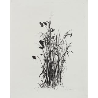 20th Century Monochromatic Lithograph of Flowers For Sale