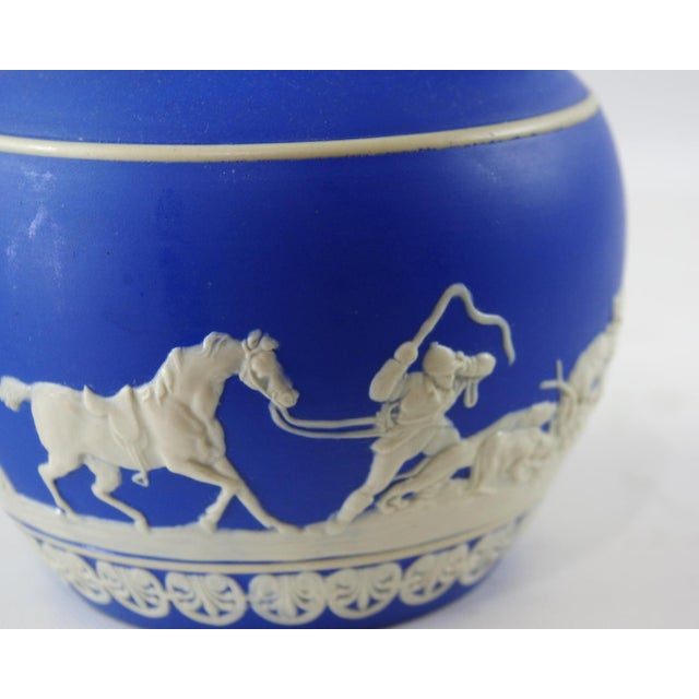 Ceramic 1900s Antique Spode Hunting Scene in Royal Blue Jasperware Pitcher For Sale - Image 7 of 12