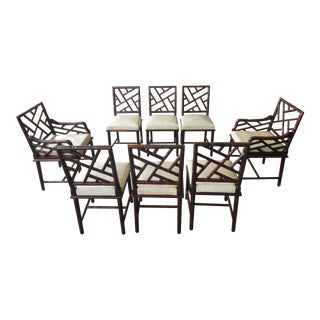 Mid Century Chinese Chippendale Exotic Wood Faux Bamboo Dining Chairs- Set of 8 For Sale