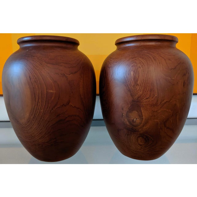 Oversize Turned Walnut Vessels, a Pair For Sale In Dallas - Image 6 of 12