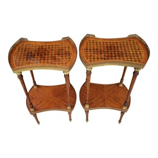 Antique French Parquetry Inlaid Kingwood Occasional Two Tier Side Tables - Pair For Sale