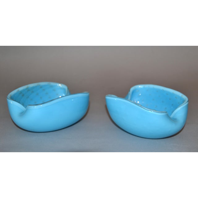 Elegant Murano Glass Blue and Gold Flecks Bowls / Catchalls - a Pair For Sale - Image 10 of 12