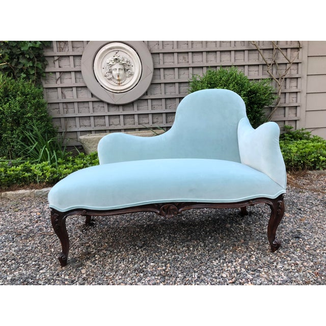 1970s Vintage Tiffany Blue Curvy Settee For Sale - Image 10 of 10