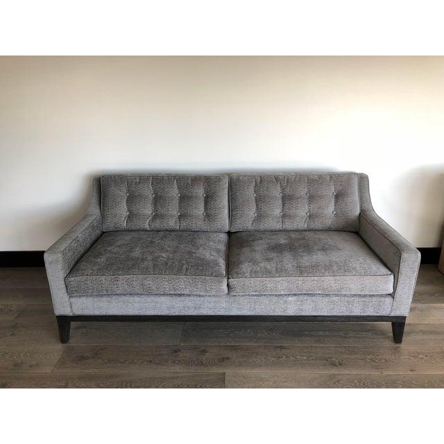 Modern Gray Upholstered Sofa For Sale - Image 9 of 9