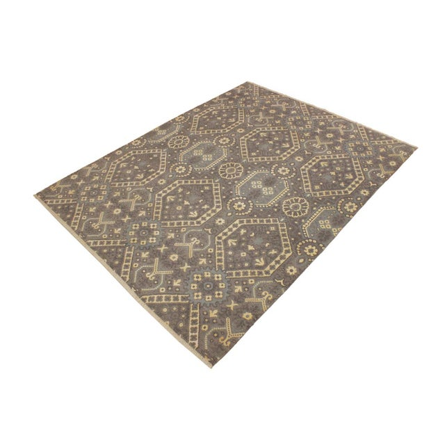 Abstract Ezyln Modern Cheryle Gray/Ivory Wool & Viscouse Rug - 7'11 X 10'2 For Sale - Image 3 of 8