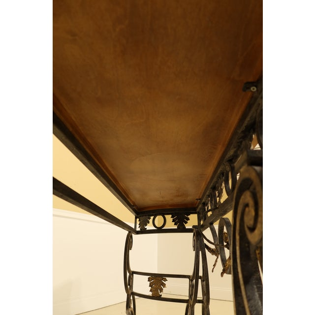 Wrought Iron Base Console Table with Maple Top For Sale - Image 9 of 13