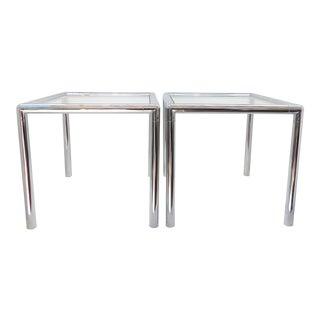 1970s Mid Century Modern Milo Baughman Chrome End Tables - a Pair For Sale