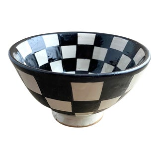 Moroccan Modern Footed Bowl, Checkerboard For Sale