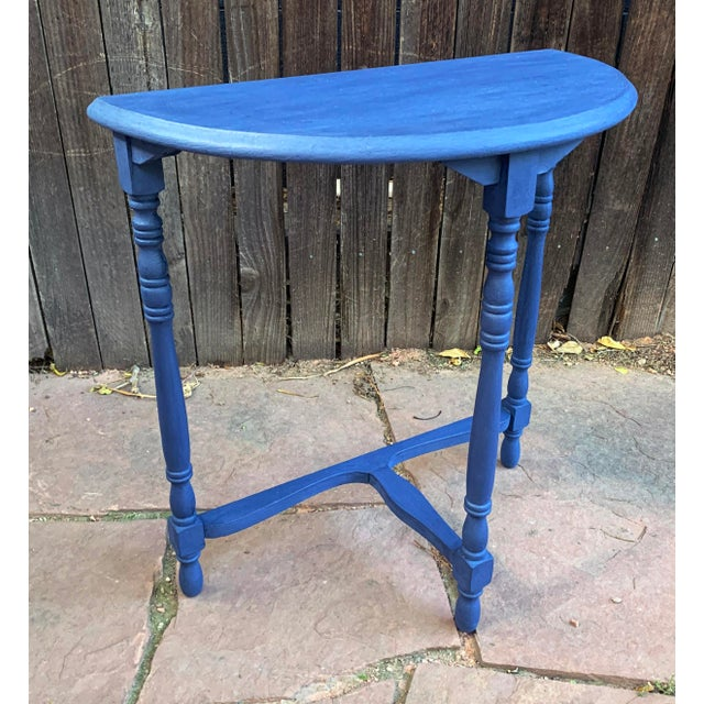 """Small vintage side accent table. This table has been painted blue with CeCe Chalk paint and lightly waxed. Dimensions 24""""..."""