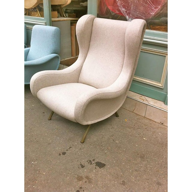 Tan Zanuso Vintage Superb Model Senior, Newly Reupholsterd in Beige For Sale - Image 8 of 9
