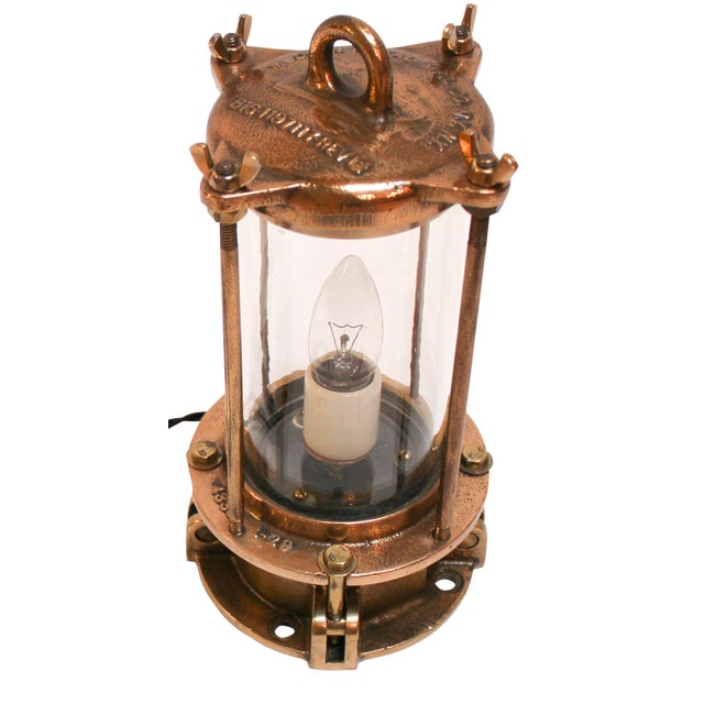 Cast Bronze Industrial Sight Glass Lamp - Image 1 of 10