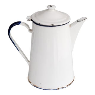 Antique French White Enamelware Coffee Pot Pitcher For Sale