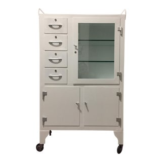 1900s Industrial Steel Dental Apothecary Pharmacy Cabinet For Sale