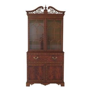 Maitland Smith Large Georgian Mahogany Secretary Desk Bookcase For Sale