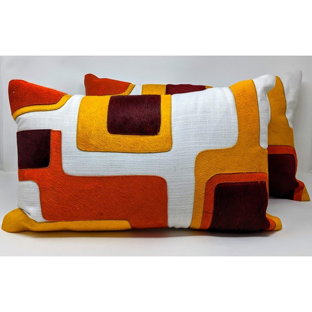 Jonathan Adler Linen and Cowhide Rectangular Pillow For Sale - Image 4 of 8