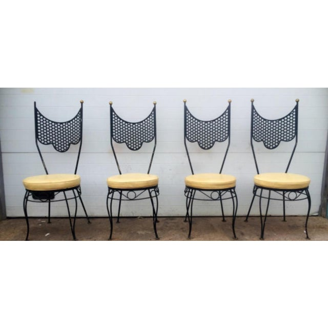 Vintage High Back Metal Chairs - Set of 4 - Image 2 of 6