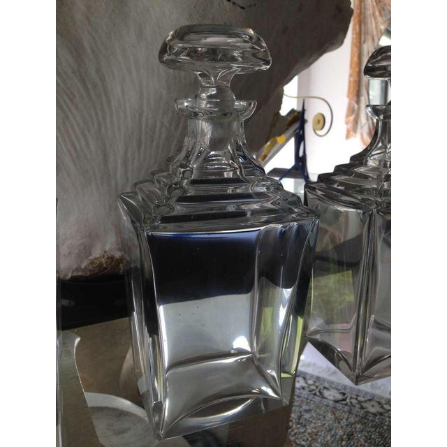Set of 3 Art Deco Thick Crystal Decanters For Sale In Miami - Image 6 of 8