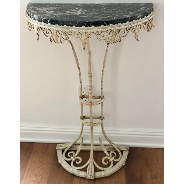Antique Art Deco Painted Wrought Iron Marble Top Demilune Console Table