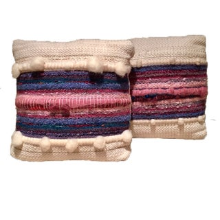 Textured Hand Knitted Wool Throw Pillows - A Pair