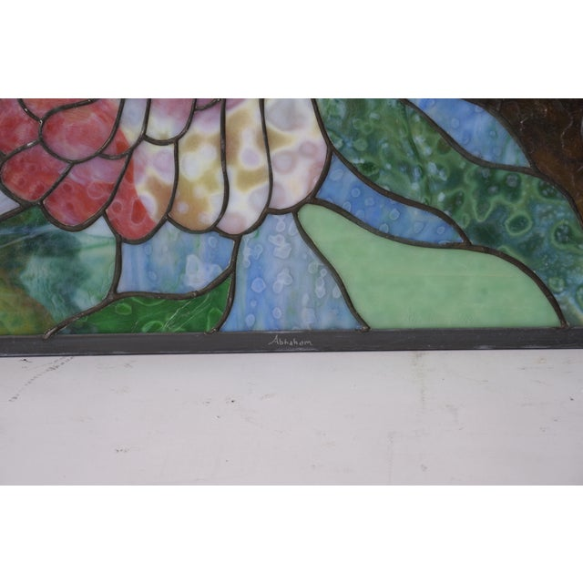 1990s Vintage Abraham '94 Stained Glass Window Decoration of a Tropical Cockatoo For Sale - Image 5 of 13
