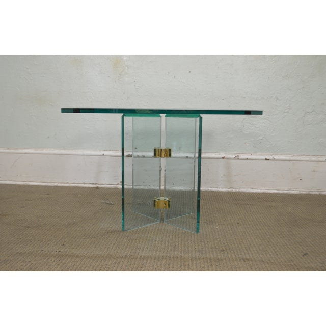 Pace Leon Rosen for Pace Modern Glass Brass Side Table For Sale - Image 4 of 13