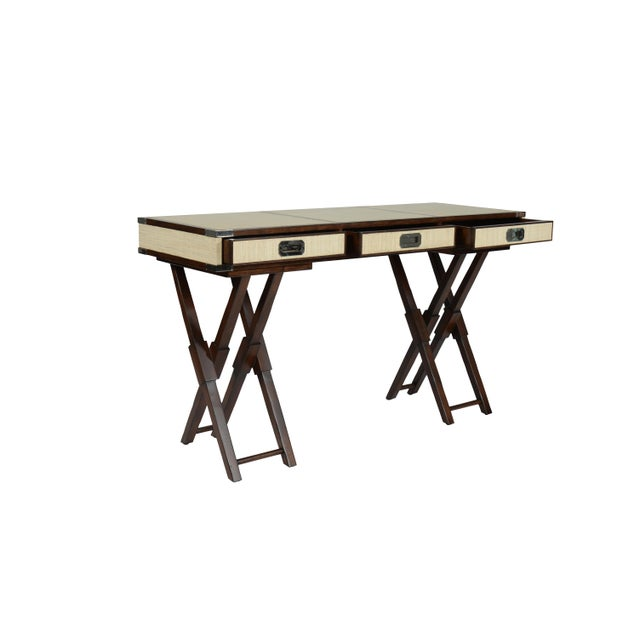 Not Yet Made - Made To Order Campaign David Francis Mahogany/Leather Writing Desk For Sale - Image 5 of 8