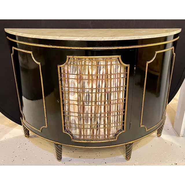 Ebony Demilune Commode or Server Hollywood Regency For Sale In New York - Image 6 of 13
